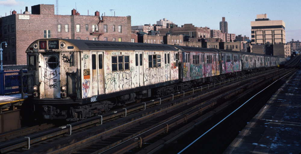 (74k, 1000x513)<br><b>Country:</b> United States<br><b>City:</b> New York<br><b>System:</b> New York City Transit<br><b>Line:</b> IRT West Side Line<br><b>Location:</b> 207th Street <br><b>Route:</b> 1<br><b>Car:</b> R-17 (St. Louis, 1955-56) 6577 <br><b>Photo by:</b> Robert Callahan<br><b>Date:</b> 1/12/1985<br><b>Viewed (this week/total):</b> 3 / 318