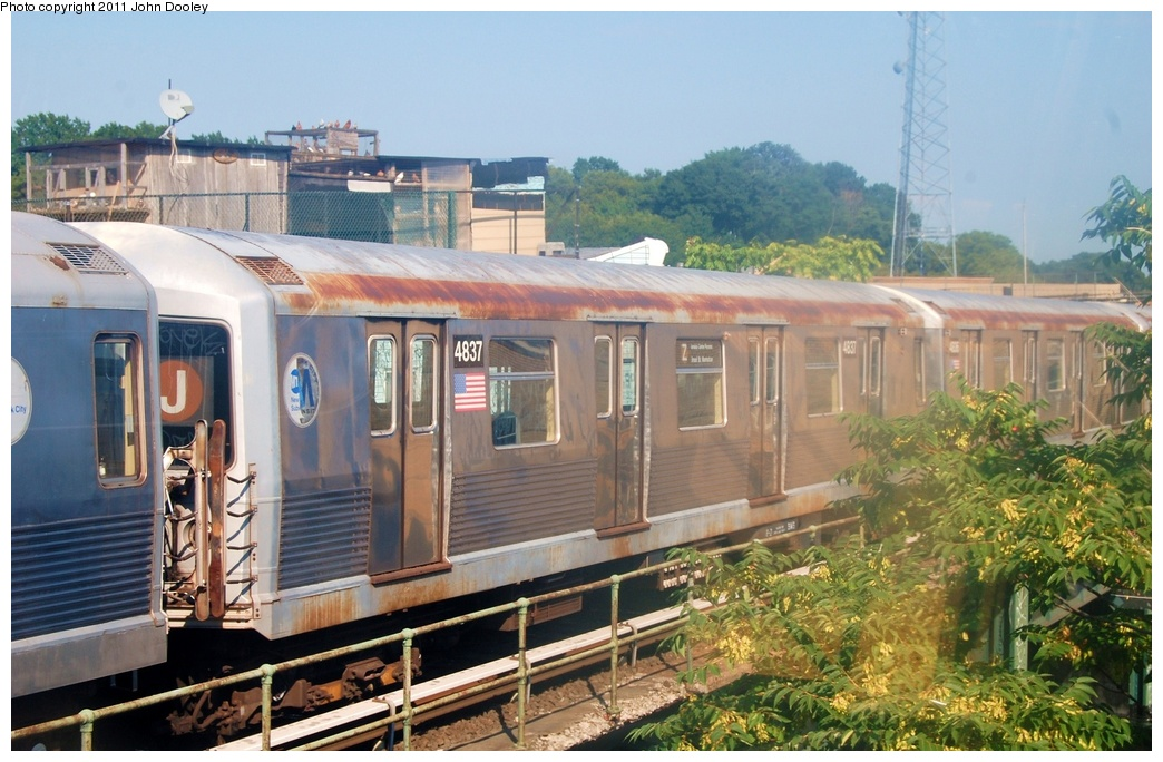 (327k, 1044x684)<br><b>Country:</b> United States<br><b>City:</b> New York<br><b>System:</b> New York City Transit<br><b>Location:</b> East New York Yard/Shops<br><b>Car:</b> R-42 (St. Louis, 1969-1970)  4837 <br><b>Photo by:</b> John Dooley<br><b>Date:</b> 8/17/2011<br><b>Viewed (this week/total):</b> 0 / 302