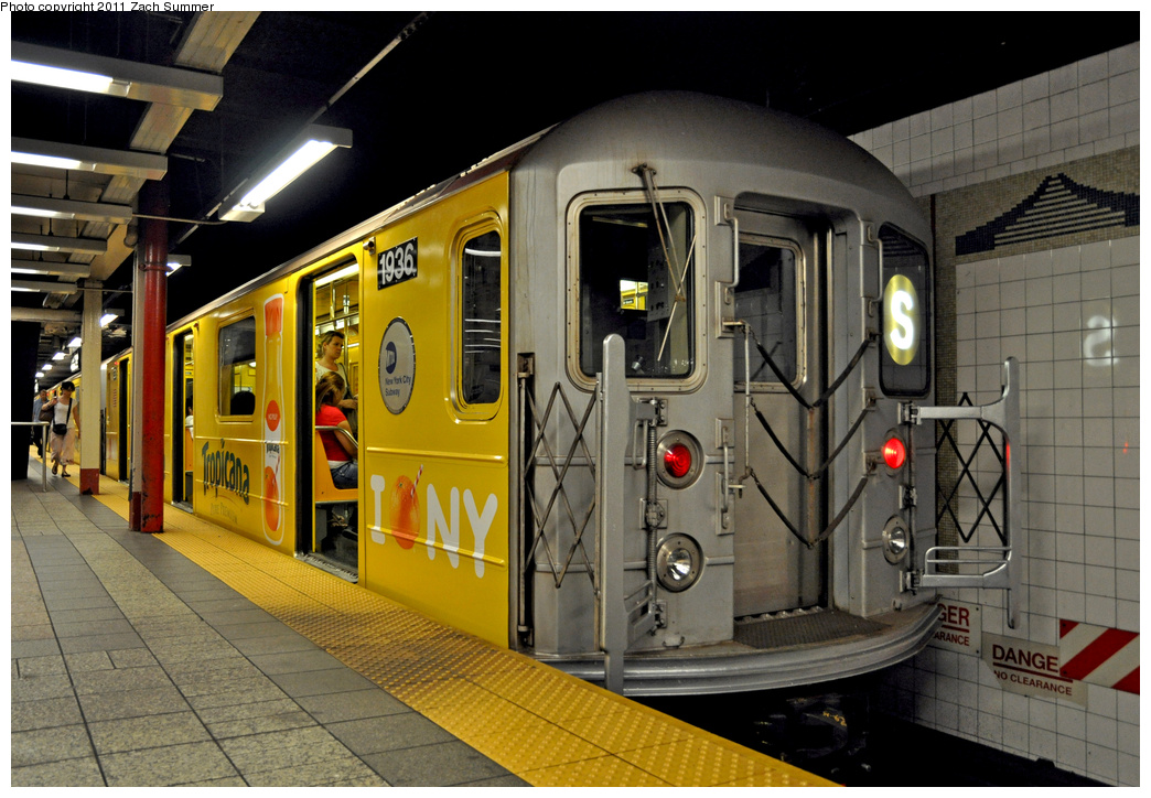 (382k, 1044x724)<br><b>Country:</b> United States<br><b>City:</b> New York<br><b>System:</b> New York City Transit<br><b>Line:</b> IRT Times Square-Grand Central Shuttle<br><b>Location:</b> Grand Central <br><b>Route:</b> S<br><b>Car:</b> R-62A (Bombardier, 1984-1987)  1936 <br><b>Photo by:</b> Zach Summer<br><b>Date:</b> 8/3/2011<br><b>Viewed (this week/total):</b> 2 / 706