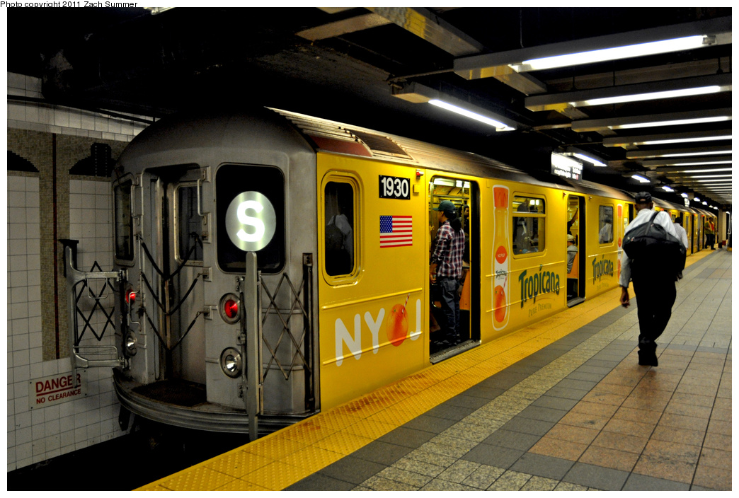 (363k, 1044x704)<br><b>Country:</b> United States<br><b>City:</b> New York<br><b>System:</b> New York City Transit<br><b>Line:</b> IRT Times Square-Grand Central Shuttle<br><b>Location:</b> Grand Central <br><b>Route:</b> S<br><b>Car:</b> R-62A (Bombardier, 1984-1987)  1930 <br><b>Photo by:</b> Zach Summer<br><b>Date:</b> 8/3/2011<br><b>Viewed (this week/total):</b> 1 / 298
