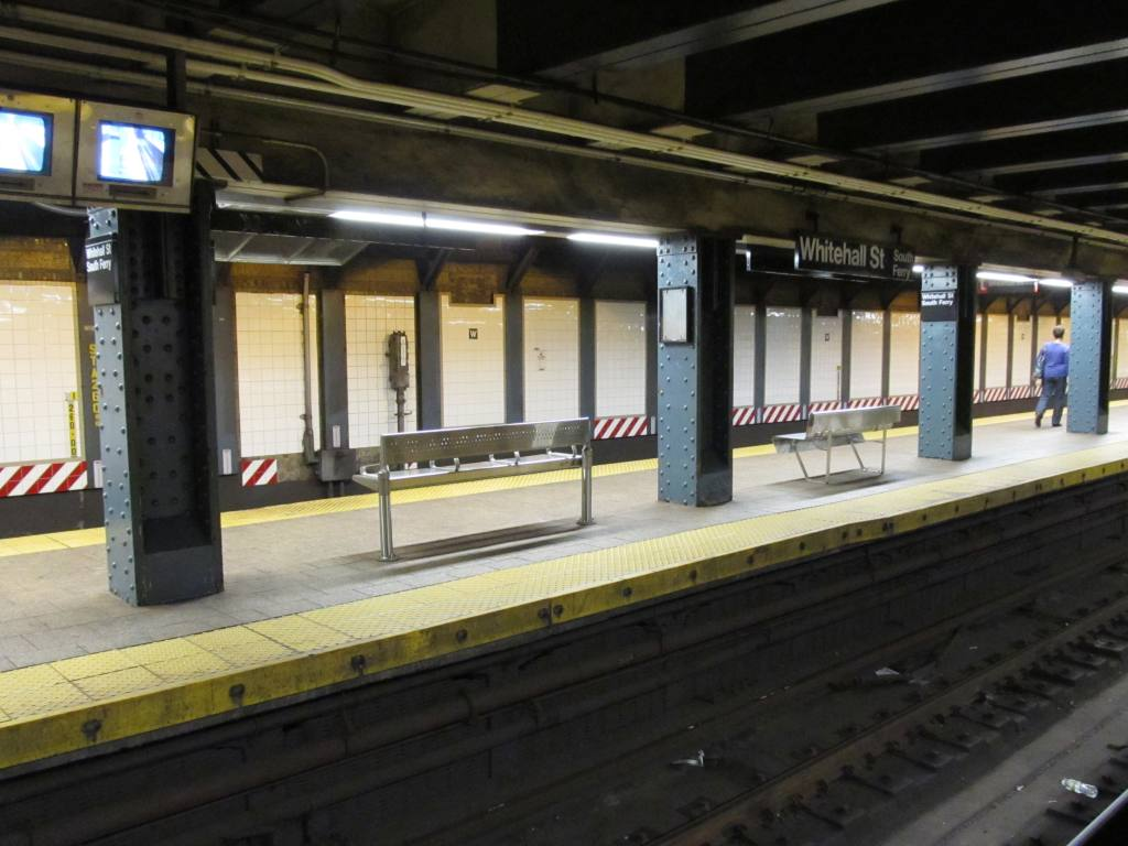 (104k, 1024x768)<br><b>Country:</b> United States<br><b>City:</b> New York<br><b>System:</b> New York City Transit<br><b>Line:</b> BMT Broadway Line<br><b>Location:</b> Whitehall Street <br><b>Photo by:</b> Robbie Rosenfeld<br><b>Date:</b> 7/14/2011<br><b>Notes:</b> New benches<br><b>Viewed (this week/total):</b> 0 / 375