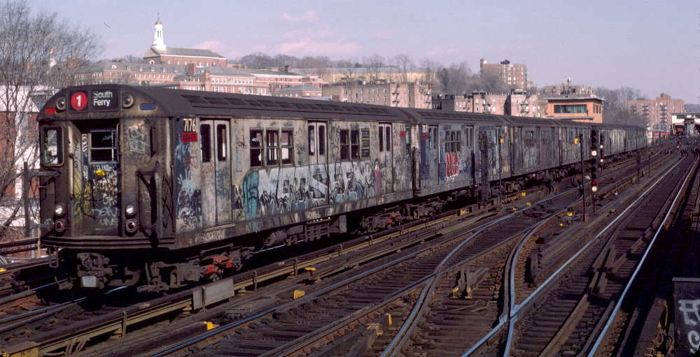 (74k, 1000x511)<br><b>Country:</b> United States<br><b>City:</b> New York<br><b>System:</b> New York City Transit<br><b>Line:</b> IRT West Side Line<br><b>Location:</b> 238th Street <br><b>Route:</b> 1<br><b>Car:</b> R-21 (St. Louis, 1956-57) 7176 <br><b>Photo by:</b> Robert Callahan<br><b>Date:</b> 2/16/1985<br><b>Viewed (this week/total):</b> 1 / 416