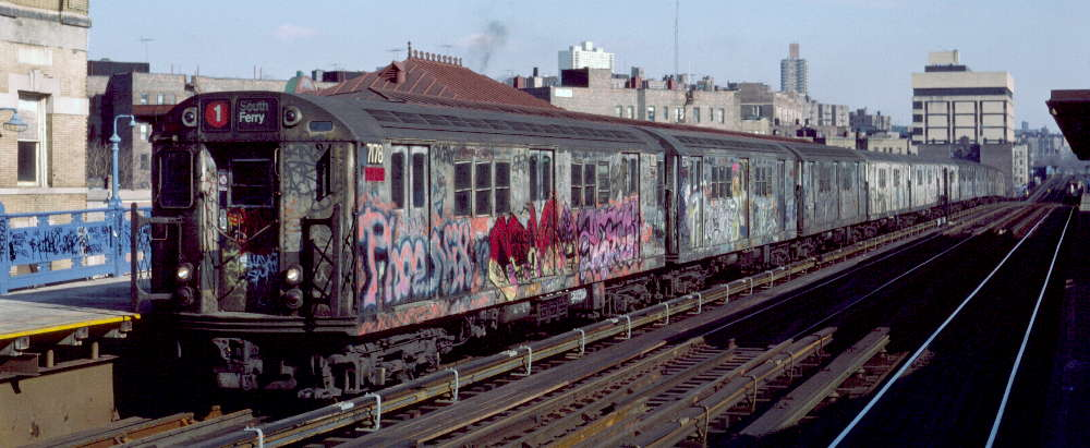 (66k, 1000x411)<br><b>Country:</b> United States<br><b>City:</b> New York<br><b>System:</b> New York City Transit<br><b>Line:</b> IRT West Side Line<br><b>Location:</b> 207th Street <br><b>Route:</b> 1<br><b>Car:</b> R-21 (St. Louis, 1956-57) 7178 <br><b>Photo by:</b> Robert Callahan<br><b>Date:</b> 2/16/1985<br><b>Viewed (this week/total):</b> 2 / 450