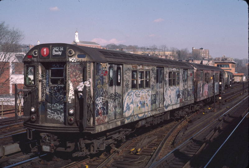 (63k, 800x540)<br><b>Country:</b> United States<br><b>City:</b> New York<br><b>System:</b> New York City Transit<br><b>Line:</b> IRT West Side Line<br><b>Location:</b> 238th Street <br><b>Route:</b> 1<br><b>Car:</b> R-21 (St. Louis, 1956-57) 7185 <br><b>Photo by:</b> Robert Callahan<br><b>Date:</b> 2/16/1985<br><b>Viewed (this week/total):</b> 2 / 415