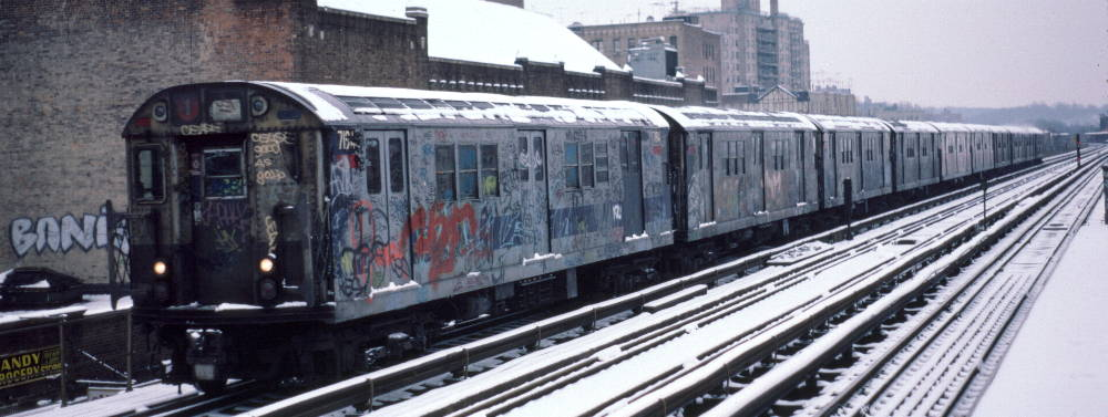(70k, 1000x377)<br><b>Country:</b> United States<br><b>City:</b> New York<br><b>System:</b> New York City Transit<br><b>Line:</b> IRT West Side Line<br><b>Location:</b> 231st Street <br><b>Route:</b> 1<br><b>Car:</b> R-21 (St. Louis, 1956-57) 7194 <br><b>Photo by:</b> Robert Callahan<br><b>Date:</b> 2/2/1985<br><b>Viewed (this week/total):</b> 1 / 727