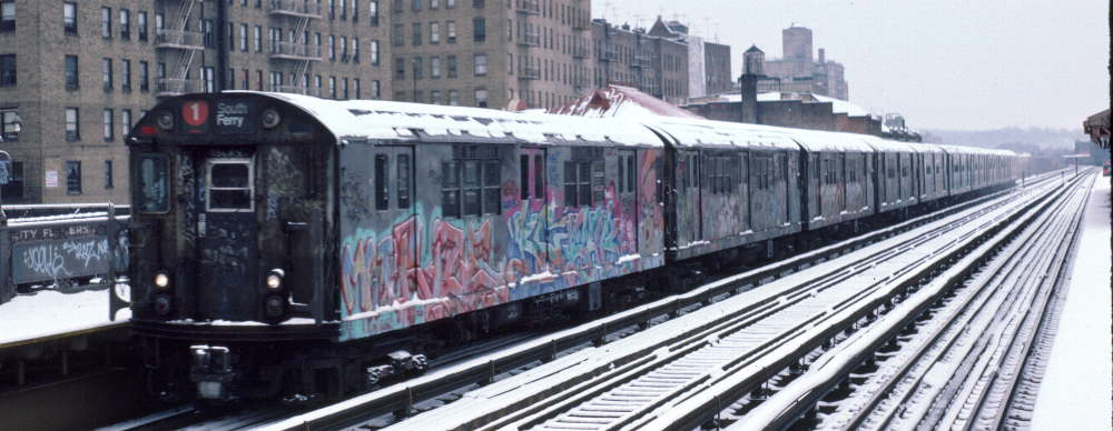 (64k, 1000x388)<br><b>Country:</b> United States<br><b>City:</b> New York<br><b>System:</b> New York City Transit<br><b>Line:</b> IRT West Side Line<br><b>Location:</b> 231st Street <br><b>Route:</b> 1<br><b>Car:</b> R-21 (St. Louis, 1956-57) 7201 <br><b>Photo by:</b> Robert Callahan<br><b>Date:</b> 2/2/1985<br><b>Viewed (this week/total):</b> 0 / 455