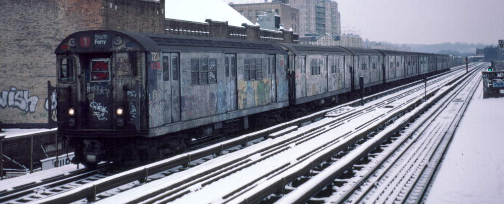 (66k, 1000x404)<br><b>Country:</b> United States<br><b>City:</b> New York<br><b>System:</b> New York City Transit<br><b>Line:</b> IRT West Side Line<br><b>Location:</b> 231st Street <br><b>Route:</b> 1<br><b>Car:</b> R-21 (St. Louis, 1956-57) 7204 <br><b>Photo by:</b> Robert Callahan<br><b>Date:</b> 2/2/1985<br><b>Viewed (this week/total):</b> 4 / 251
