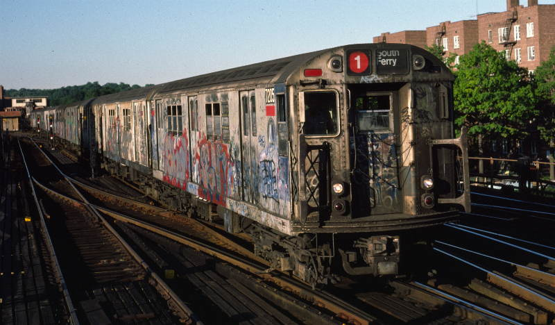 (65k, 800x468)<br><b>Country:</b> United States<br><b>City:</b> New York<br><b>System:</b> New York City Transit<br><b>Line:</b> IRT West Side Line<br><b>Location:</b> 238th Street <br><b>Route:</b> 1<br><b>Car:</b> R-21 (St. Louis, 1956-57) 7205 <br><b>Photo by:</b> Robert Callahan<br><b>Date:</b> 9/21/1984<br><b>Viewed (this week/total):</b> 0 / 524