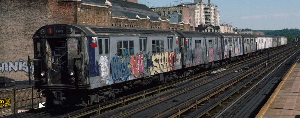 (68k, 1000x396)<br><b>Country:</b> United States<br><b>City:</b> New York<br><b>System:</b> New York City Transit<br><b>Line:</b> IRT West Side Line<br><b>Location:</b> 231st Street <br><b>Route:</b> 1<br><b>Car:</b> R-21 (St. Louis, 1956-57) 7217 <br><b>Photo by:</b> Robert Callahan<br><b>Date:</b> 9/22/1984<br><b>Viewed (this week/total):</b> 4 / 317