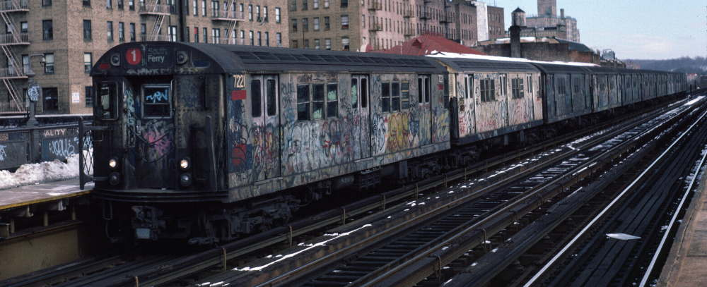 (63k, 1000x407)<br><b>Country:</b> United States<br><b>City:</b> New York<br><b>System:</b> New York City Transit<br><b>Line:</b> IRT West Side Line<br><b>Location:</b> 231st Street <br><b>Route:</b> 1<br><b>Car:</b> R-21 (St. Louis, 1956-57) 7221 <br><b>Photo by:</b> Robert Callahan<br><b>Date:</b> 2/9/1985<br><b>Viewed (this week/total):</b> 0 / 744