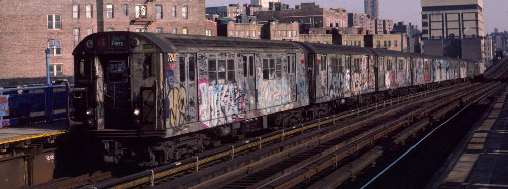 (68k, 1000x373)<br><b>Country:</b> United States<br><b>City:</b> New York<br><b>System:</b> New York City Transit<br><b>Line:</b> IRT West Side Line<br><b>Location:</b> 207th Street <br><b>Route:</b> 1<br><b>Car:</b> R-21 (St. Louis, 1956-57) 7240 <br><b>Photo by:</b> Robert Callahan<br><b>Date:</b> 2/16/1985<br><b>Viewed (this week/total):</b> 0 / 236