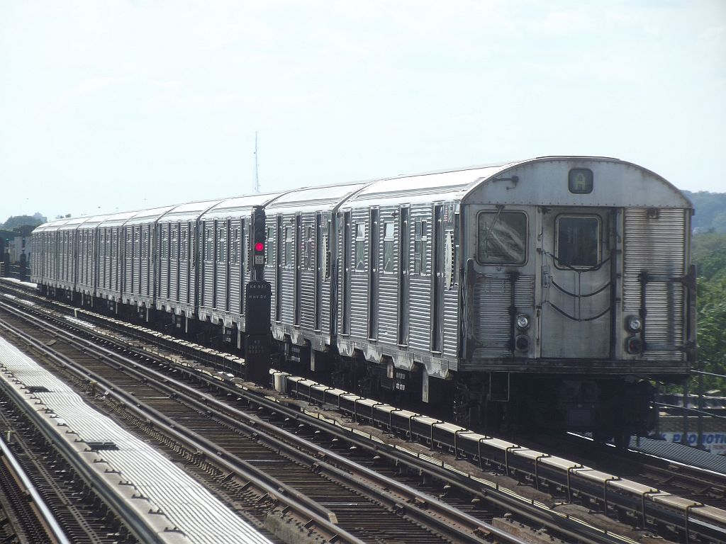 (182k, 1024x768)<br><b>Country:</b> United States<br><b>City:</b> New York<br><b>System:</b> New York City Transit<br><b>Line:</b> IND Fulton Street Line<br><b>Location:</b> Rockaway Boulevard <br><b>Route:</b> A<br><b>Car:</b> R-32 (Budd, 1964)   <br><b>Photo by:</b> Alize Jarrett<br><b>Date:</b> 8/24/2011<br><b>Viewed (this week/total):</b> 2 / 284