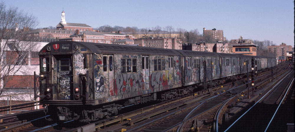 (70k, 1000x449)<br><b>Country:</b> United States<br><b>City:</b> New York<br><b>System:</b> New York City Transit<br><b>Line:</b> IRT West Side Line<br><b>Location:</b> 238th Street <br><b>Route:</b> 1<br><b>Car:</b> R-21 (St. Louis, 1956-57) 7242 <br><b>Photo by:</b> Robert Callahan<br><b>Date:</b> 2/18/1985<br><b>Viewed (this week/total):</b> 0 / 604