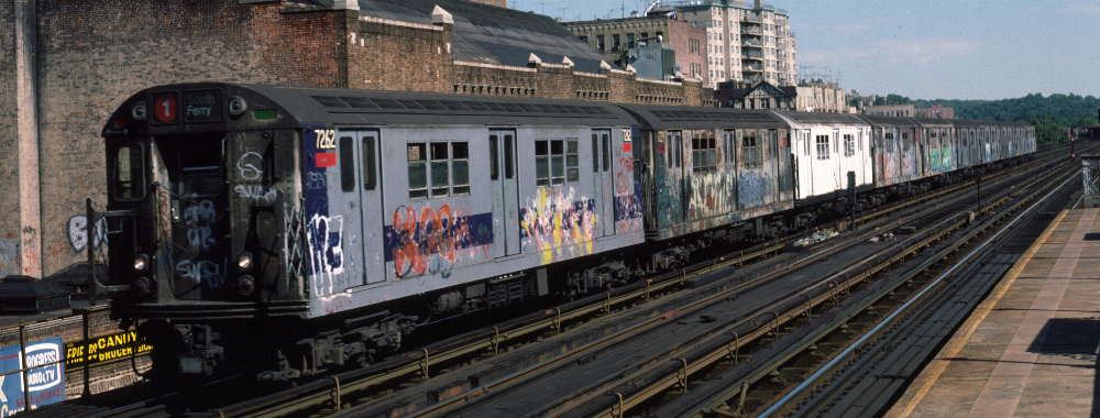 (64k, 1000x380)<br><b>Country:</b> United States<br><b>City:</b> New York<br><b>System:</b> New York City Transit<br><b>Line:</b> IRT West Side Line<br><b>Location:</b> 231st Street <br><b>Route:</b> 1<br><b>Car:</b> R-21 (St. Louis, 1956-57) 7262 <br><b>Photo by:</b> Robert Callahan<br><b>Date:</b> 9/22/1984<br><b>Viewed (this week/total):</b> 2 / 256