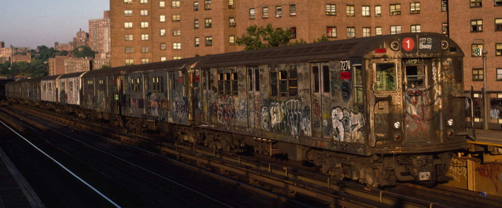 (62k, 1000x415)<br><b>Country:</b> United States<br><b>City:</b> New York<br><b>System:</b> New York City Transit<br><b>Line:</b> IRT West Side Line<br><b>Location:</b> 225th Street <br><b>Route:</b> 1<br><b>Car:</b> R-21 (St. Louis, 1956-57) 7274 <br><b>Photo by:</b> Robert Callahan<br><b>Date:</b> 10/11/1984<br><b>Viewed (this week/total):</b> 2 / 435