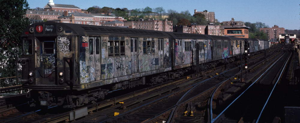 (63k, 1000x411)<br><b>Country:</b> United States<br><b>City:</b> New York<br><b>System:</b> New York City Transit<br><b>Line:</b> IRT West Side Line<br><b>Location:</b> 238th Street <br><b>Route:</b> 1<br><b>Car:</b> R-21 (St. Louis, 1956-57) 7248 <br><b>Photo by:</b> Robert Callahan<br><b>Date:</b> 11/3/1984<br><b>Viewed (this week/total):</b> 2 / 573