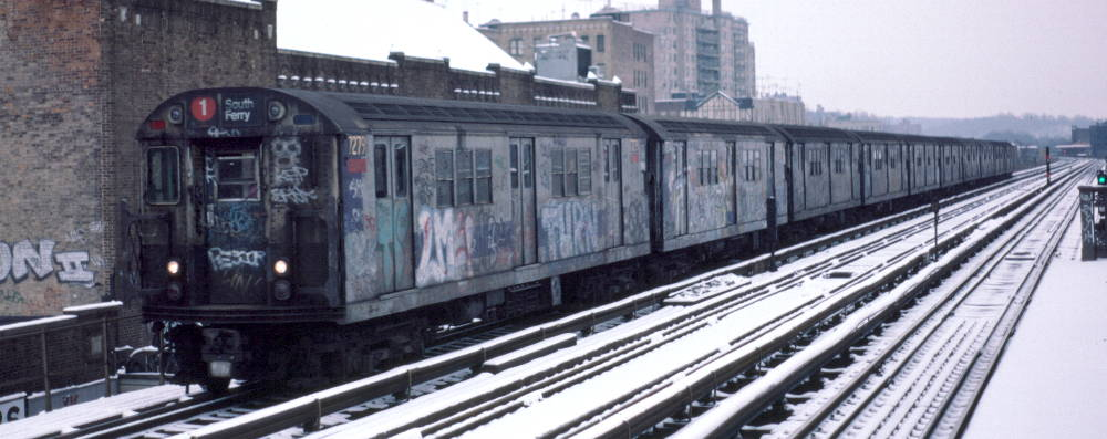(69k, 1000x397)<br><b>Country:</b> United States<br><b>City:</b> New York<br><b>System:</b> New York City Transit<br><b>Line:</b> IRT West Side Line<br><b>Location:</b> 231st Street <br><b>Route:</b> 1<br><b>Car:</b> R-21 (St. Louis, 1956-57) 7279 <br><b>Photo by:</b> Robert Callahan<br><b>Date:</b> 2/2/1985<br><b>Viewed (this week/total):</b> 3 / 203