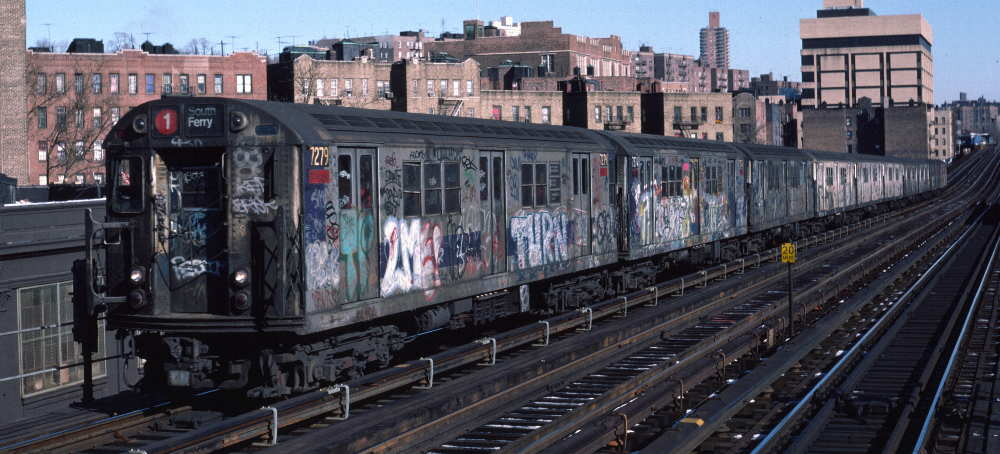 (70k, 1000x454)<br><b>Country:</b> United States<br><b>City:</b> New York<br><b>System:</b> New York City Transit<br><b>Line:</b> IRT West Side Line<br><b>Location:</b> 207th Street <br><b>Route:</b> 1<br><b>Car:</b> R-21 (St. Louis, 1956-57) 7279 <br><b>Photo by:</b> Robert Callahan<br><b>Date:</b> 2/10/1985<br><b>Viewed (this week/total):</b> 2 / 349