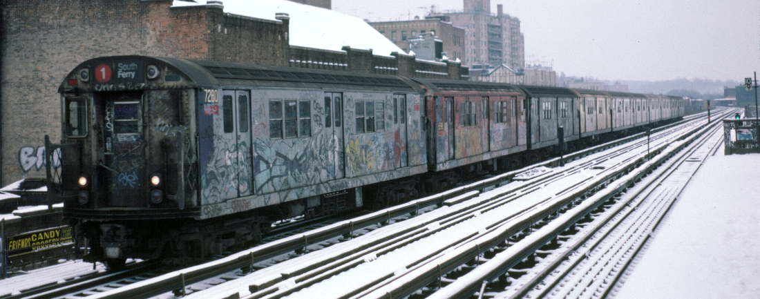 (70k, 1100x433)<br><b>Country:</b> United States<br><b>City:</b> New York<br><b>System:</b> New York City Transit<br><b>Line:</b> IRT West Side Line<br><b>Location:</b> 231st Street <br><b>Route:</b> 1<br><b>Car:</b> R-21 (St. Louis, 1956-57) 7280 <br><b>Photo by:</b> Robert Callahan<br><b>Date:</b> 2/2/1985<br><b>Viewed (this week/total):</b> 4 / 532