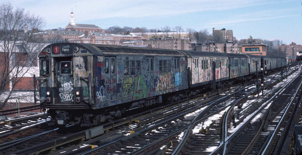 (75k, 1000x514)<br><b>Country:</b> United States<br><b>City:</b> New York<br><b>System:</b> New York City Transit<br><b>Line:</b> IRT West Side Line<br><b>Location:</b> 238th Street <br><b>Route:</b> 1<br><b>Car:</b> R-21 (St. Louis, 1956-57) 7288 <br><b>Photo by:</b> Robert Callahan<br><b>Date:</b> 2/9/1985<br><b>Viewed (this week/total):</b> 7 / 589