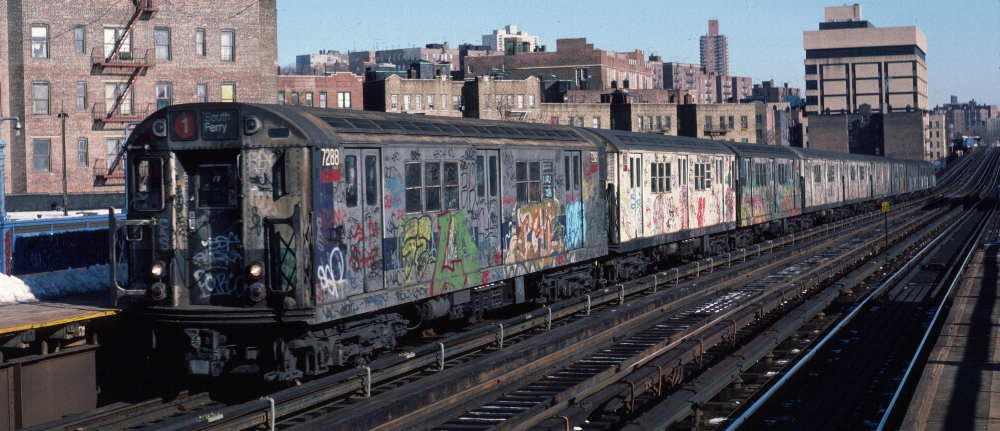 (68k, 1000x431)<br><b>Country:</b> United States<br><b>City:</b> New York<br><b>System:</b> New York City Transit<br><b>Line:</b> IRT West Side Line<br><b>Location:</b> 207th Street <br><b>Route:</b> 1<br><b>Car:</b> R-21 (St. Louis, 1956-57) 7288 <br><b>Photo by:</b> Robert Callahan<br><b>Date:</b> 2/10/1985<br><b>Viewed (this week/total):</b> 2 / 337