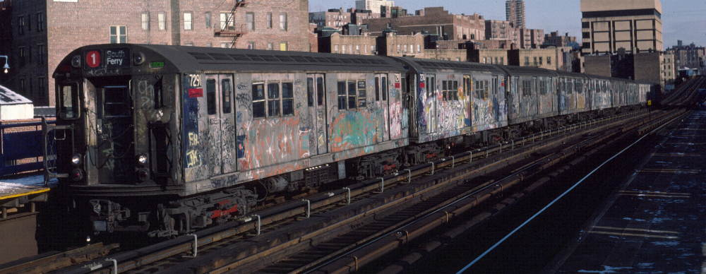 (69k, 1000x388)<br><b>Country:</b> United States<br><b>City:</b> New York<br><b>System:</b> New York City Transit<br><b>Line:</b> IRT West Side Line<br><b>Location:</b> 207th Street <br><b>Route:</b> 1<br><b>Car:</b> R-21 (St. Louis, 1956-57) 7291 <br><b>Photo by:</b> Robert Callahan<br><b>Date:</b> 1/12/1985<br><b>Viewed (this week/total):</b> 0 / 649