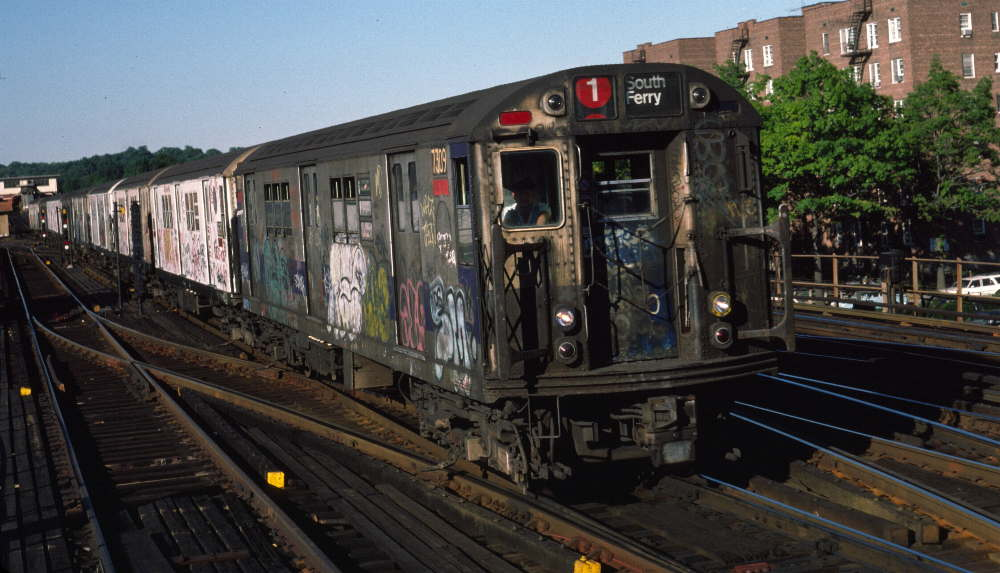 (79k, 1000x573)<br><b>Country:</b> United States<br><b>City:</b> New York<br><b>System:</b> New York City Transit<br><b>Line:</b> IRT West Side Line<br><b>Location:</b> 238th Street <br><b>Route:</b> 1<br><b>Car:</b> R-22 (St. Louis, 1957-58) 7309 <br><b>Photo by:</b> Robert Callahan<br><b>Date:</b> 9/21/1984<br><b>Viewed (this week/total):</b> 1 / 694