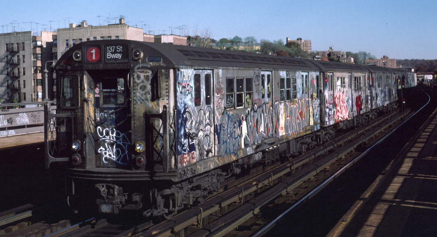 (65k, 900x489)<br><b>Country:</b> United States<br><b>City:</b> New York<br><b>System:</b> New York City Transit<br><b>Line:</b> IRT West Side Line<br><b>Location:</b> 238th Street <br><b>Route:</b> 1<br><b>Car:</b> R-22 (St. Louis, 1957-58) 7309 <br><b>Photo by:</b> Robert Callahan<br><b>Date:</b> 11/3/1984<br><b>Viewed (this week/total):</b> 3 / 252