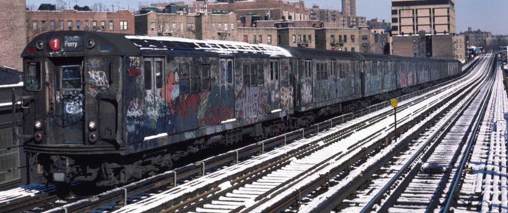(73k, 1000x420)<br><b>Country:</b> United States<br><b>City:</b> New York<br><b>System:</b> New York City Transit<br><b>Line:</b> IRT West Side Line<br><b>Location:</b> 207th Street <br><b>Route:</b> 1<br><b>Car:</b> R-22 (St. Louis, 1957-58) 7319 <br><b>Photo by:</b> Robert Callahan<br><b>Date:</b> 2/3/1985<br><b>Viewed (this week/total):</b> 3 / 272
