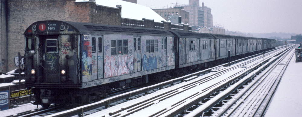 (62k, 1000x390)<br><b>Country:</b> United States<br><b>City:</b> New York<br><b>System:</b> New York City Transit<br><b>Line:</b> IRT West Side Line<br><b>Location:</b> 231st Street <br><b>Route:</b> 1<br><b>Car:</b> R-22 (St. Louis, 1957-58) 7322 <br><b>Photo by:</b> Robert Callahan<br><b>Date:</b> 2/2/1985<br><b>Viewed (this week/total):</b> 2 / 214