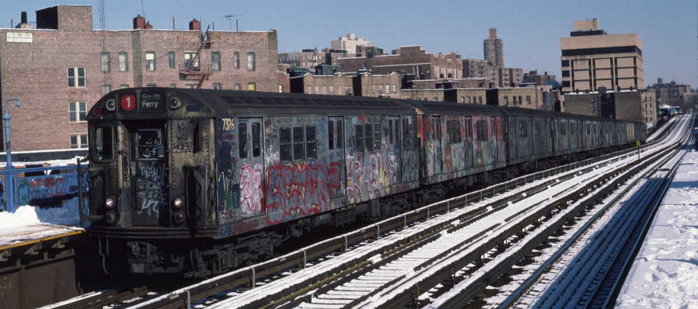 (66k, 1000x444)<br><b>Country:</b> United States<br><b>City:</b> New York<br><b>System:</b> New York City Transit<br><b>Line:</b> IRT West Side Line<br><b>Location:</b> 207th Street <br><b>Route:</b> 1<br><b>Car:</b> R-22 (St. Louis, 1957-58) 7326 <br><b>Photo by:</b> Robert Callahan<br><b>Date:</b> 2/3/1985<br><b>Viewed (this week/total):</b> 3 / 752