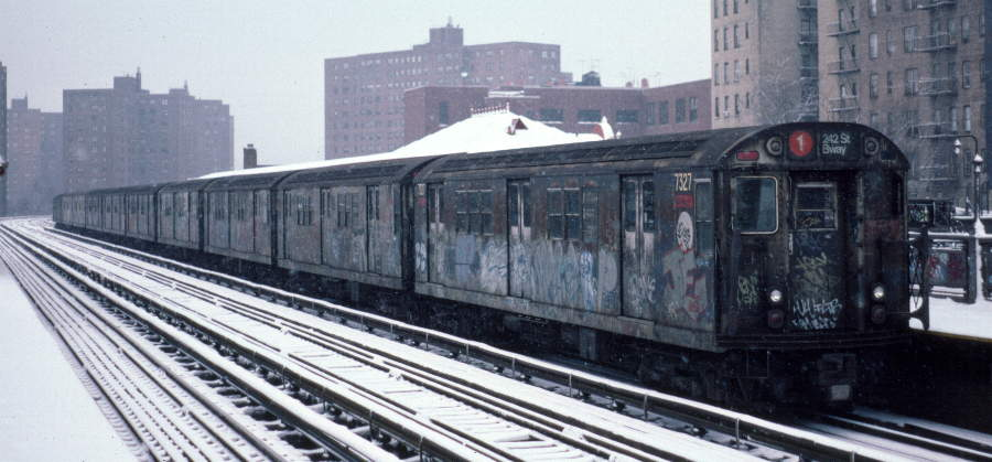 (58k, 900x419)<br><b>Country:</b> United States<br><b>City:</b> New York<br><b>System:</b> New York City Transit<br><b>Line:</b> IRT West Side Line<br><b>Location:</b> 231st Street <br><b>Route:</b> 1<br><b>Car:</b> R-22 (St. Louis, 1957-58) 7327 <br><b>Photo by:</b> Robert Callahan<br><b>Date:</b> 2/2/1985<br><b>Viewed (this week/total):</b> 2 / 348