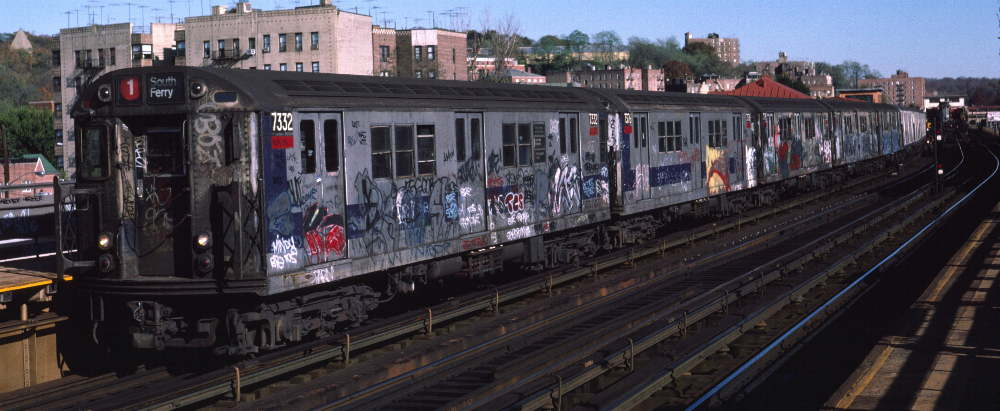 (64k, 1000x411)<br><b>Country:</b> United States<br><b>City:</b> New York<br><b>System:</b> New York City Transit<br><b>Line:</b> IRT West Side Line<br><b>Location:</b> 238th Street <br><b>Route:</b> 1<br><b>Car:</b> R-22 (St. Louis, 1957-58) 7332 <br><b>Photo by:</b> Robert Callahan<br><b>Date:</b> 11/3/1984<br><b>Viewed (this week/total):</b> 3 / 409