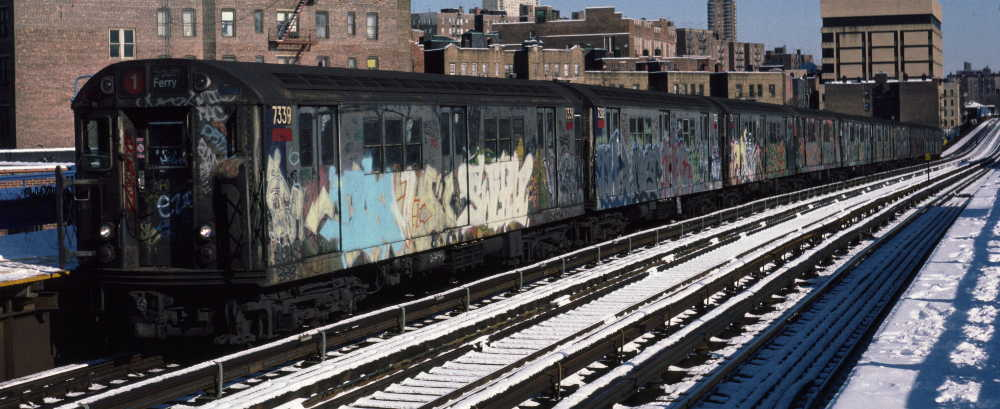 (65k, 1000x409)<br><b>Country:</b> United States<br><b>City:</b> New York<br><b>System:</b> New York City Transit<br><b>Line:</b> IRT West Side Line<br><b>Location:</b> 207th Street <br><b>Route:</b> 1<br><b>Car:</b> R-22 (St. Louis, 1957-58) 7339 <br><b>Photo by:</b> Robert Callahan<br><b>Date:</b> 2/3/1985<br><b>Viewed (this week/total):</b> 3 / 961