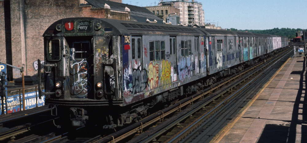 (69k, 1000x468)<br><b>Country:</b> United States<br><b>City:</b> New York<br><b>System:</b> New York City Transit<br><b>Line:</b> IRT West Side Line<br><b>Location:</b> 231st Street <br><b>Route:</b> 1<br><b>Car:</b> R-22 (St. Louis, 1957-58) 7342 <br><b>Photo by:</b> Robert Callahan<br><b>Date:</b> 10/6/1984<br><b>Viewed (this week/total):</b> 0 / 263