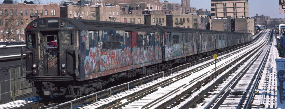 (66k, 1000x384)<br><b>Country:</b> United States<br><b>City:</b> New York<br><b>System:</b> New York City Transit<br><b>Line:</b> IRT West Side Line<br><b>Location:</b> 207th Street <br><b>Route:</b> 1<br><b>Car:</b> R-22 (St. Louis, 1957-58) 7345 <br><b>Photo by:</b> Robert Callahan<br><b>Date:</b> 2/3/1985<br><b>Viewed (this week/total):</b> 0 / 315