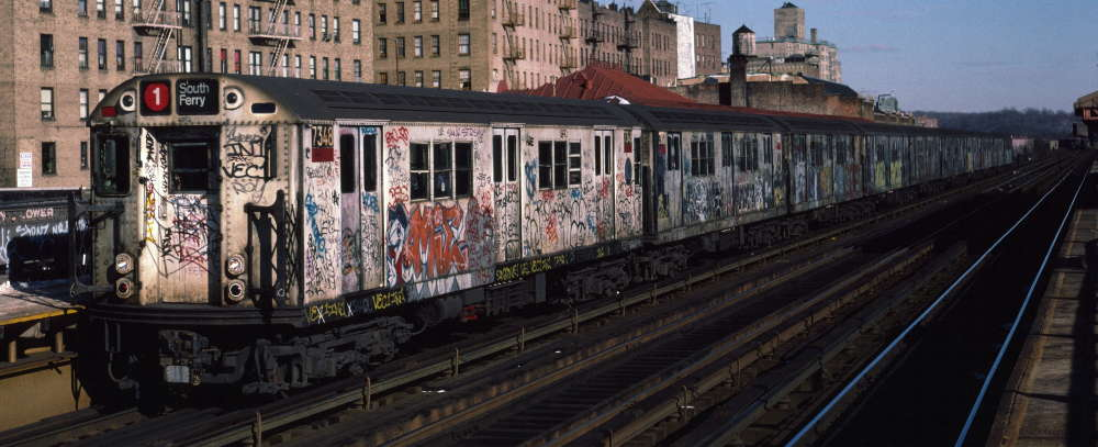 (64k, 1000x407)<br><b>Country:</b> United States<br><b>City:</b> New York<br><b>System:</b> New York City Transit<br><b>Line:</b> IRT West Side Line<br><b>Location:</b> 231st Street <br><b>Route:</b> 1<br><b>Car:</b> R-22 (St. Louis, 1957-58) 7348 <br><b>Photo by:</b> Robert Callahan<br><b>Date:</b> 1/12/1985<br><b>Viewed (this week/total):</b> 2 / 285