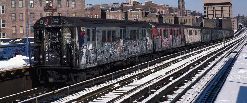(71k, 1000x418)<br><b>Country:</b> United States<br><b>City:</b> New York<br><b>System:</b> New York City Transit<br><b>Line:</b> IRT West Side Line<br><b>Location:</b> 207th Street <br><b>Route:</b> 1<br><b>Car:</b> R-22 (St. Louis, 1957-58) 7354 <br><b>Photo by:</b> Robert Callahan<br><b>Date:</b> 2/3/1985<br><b>Viewed (this week/total):</b> 5 / 779