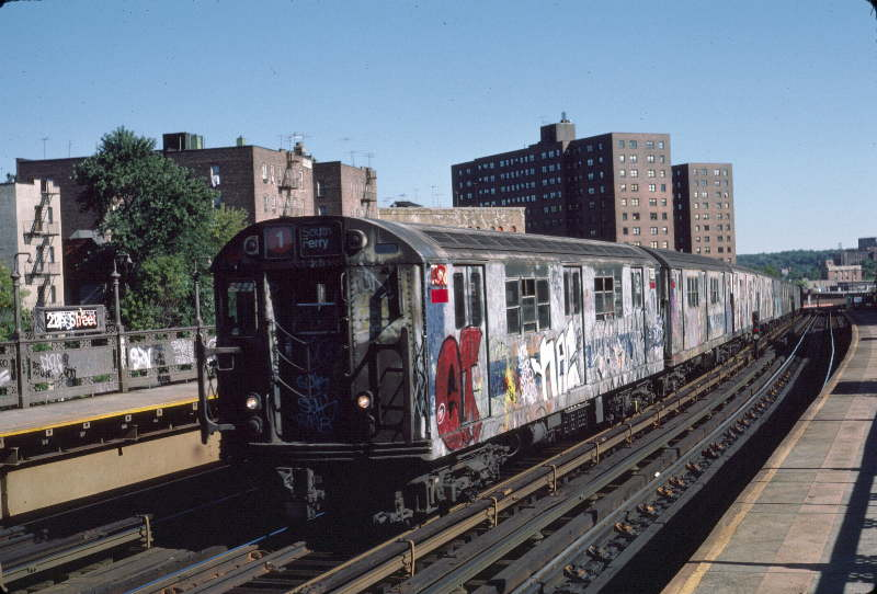 (65k, 800x542)<br><b>Country:</b> United States<br><b>City:</b> New York<br><b>System:</b> New York City Transit<br><b>Line:</b> IRT West Side Line<br><b>Location:</b> 225th Street <br><b>Route:</b> 1<br><b>Car:</b> R-22 (St. Louis, 1957-58) 7358 <br><b>Photo by:</b> Robert Callahan<br><b>Date:</b> 10/6/1984<br><b>Viewed (this week/total):</b> 3 / 288
