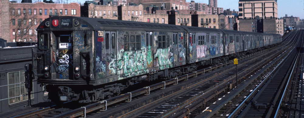 (61k, 1000x390)<br><b>Country:</b> United States<br><b>City:</b> New York<br><b>System:</b> New York City Transit<br><b>Line:</b> IRT West Side Line<br><b>Location:</b> 207th Street <br><b>Route:</b> 1<br><b>Car:</b> R-22 (St. Louis, 1957-58) 7360 <br><b>Photo by:</b> Robert Callahan<br><b>Date:</b> 2/10/1985<br><b>Viewed (this week/total):</b> 0 / 267
