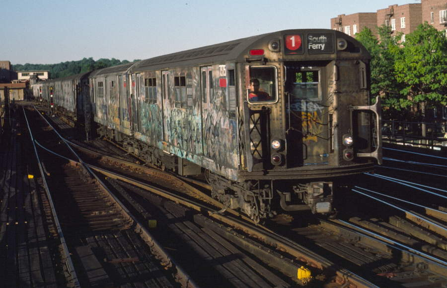 (74k, 900x579)<br><b>Country:</b> United States<br><b>City:</b> New York<br><b>System:</b> New York City Transit<br><b>Line:</b> IRT West Side Line<br><b>Location:</b> 238th Street <br><b>Route:</b> 1<br><b>Car:</b> R-22 (St. Louis, 1957-58) 7375 <br><b>Photo by:</b> Robert Callahan<br><b>Date:</b> 9/21/1984<br><b>Viewed (this week/total):</b> 6 / 804