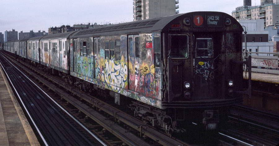 (64k, 900x472)<br><b>Country:</b> United States<br><b>City:</b> New York<br><b>System:</b> New York City Transit<br><b>Line:</b> IRT West Side Line<br><b>Location:</b> 238th Street <br><b>Route:</b> 1<br><b>Car:</b> R-22 (St. Louis, 1957-58) 7375 <br><b>Photo by:</b> Robert Callahan<br><b>Date:</b> 10/14/1984<br><b>Viewed (this week/total):</b> 2 / 550
