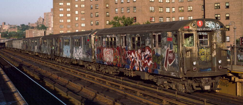 (64k, 1000x433)<br><b>Country:</b> United States<br><b>City:</b> New York<br><b>System:</b> New York City Transit<br><b>Line:</b> IRT West Side Line<br><b>Location:</b> 225th Street <br><b>Route:</b> 1<br><b>Car:</b> R-22 (St. Louis, 1957-58) 7380 <br><b>Photo by:</b> Robert Callahan<br><b>Date:</b> 10/11/1984<br><b>Viewed (this week/total):</b> 1 / 439