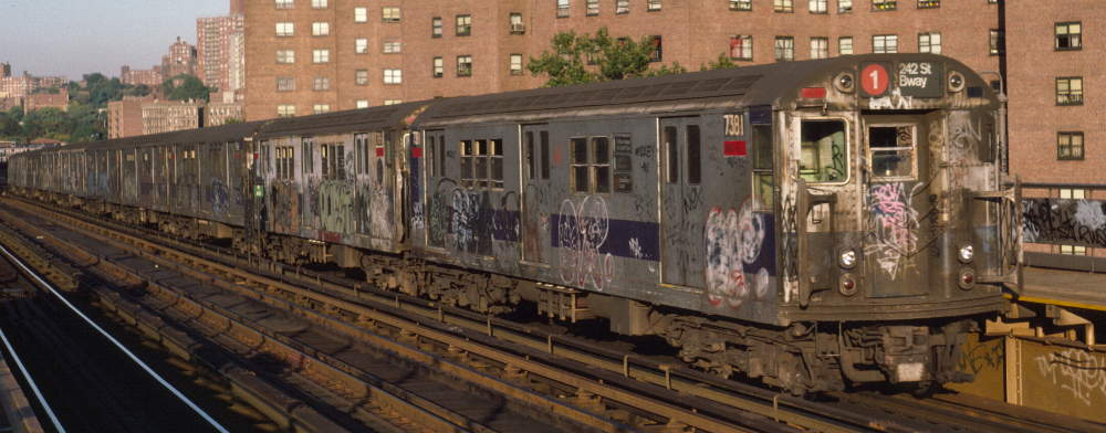 (66k, 1000x392)<br><b>Country:</b> United States<br><b>City:</b> New York<br><b>System:</b> New York City Transit<br><b>Line:</b> IRT West Side Line<br><b>Location:</b> 225th Street <br><b>Route:</b> 1<br><b>Car:</b> R-22 (St. Louis, 1957-58) 7381 <br><b>Photo by:</b> Robert Callahan<br><b>Date:</b> 10/11/1984<br><b>Viewed (this week/total):</b> 1 / 308