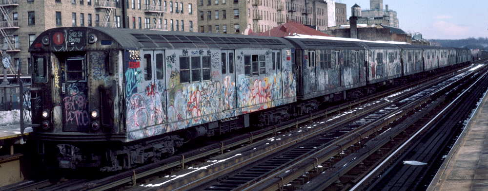 (66k, 1000x393)<br><b>Country:</b> United States<br><b>City:</b> New York<br><b>System:</b> New York City Transit<br><b>Line:</b> IRT West Side Line<br><b>Location:</b> 231st Street <br><b>Route:</b> 1<br><b>Car:</b> R-22 (St. Louis, 1957-58) 7388 <br><b>Photo by:</b> Robert Callahan<br><b>Date:</b> 2/9/1985<br><b>Viewed (this week/total):</b> 2 / 197