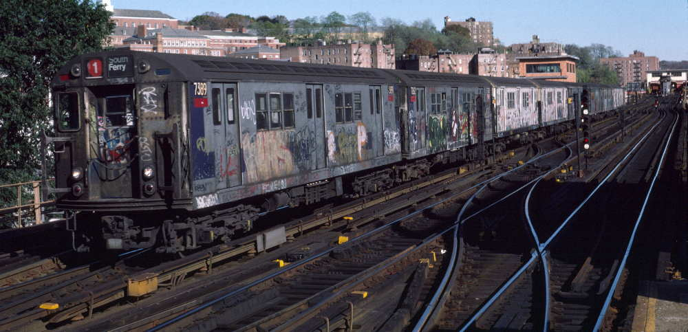 (71k, 1000x483)<br><b>Country:</b> United States<br><b>City:</b> New York<br><b>System:</b> New York City Transit<br><b>Line:</b> IRT West Side Line<br><b>Location:</b> 238th Street <br><b>Route:</b> 1<br><b>Car:</b> R-22 (St. Louis, 1957-58) 7389 <br><b>Photo by:</b> Robert Callahan<br><b>Date:</b> 11/3/1984<br><b>Viewed (this week/total):</b> 0 / 240