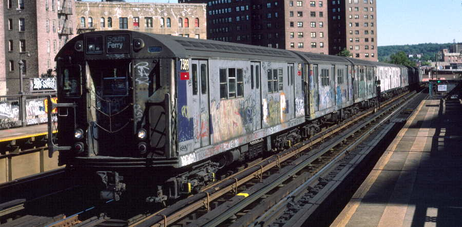(64k, 900x443)<br><b>Country:</b> United States<br><b>City:</b> New York<br><b>System:</b> New York City Transit<br><b>Line:</b> IRT West Side Line<br><b>Location:</b> 225th Street <br><b>Route:</b> 1<br><b>Car:</b> R-22 (St. Louis, 1957-58) 7389 <br><b>Photo by:</b> Robert Callahan<br><b>Date:</b> 10/6/1984<br><b>Viewed (this week/total):</b> 0 / 629