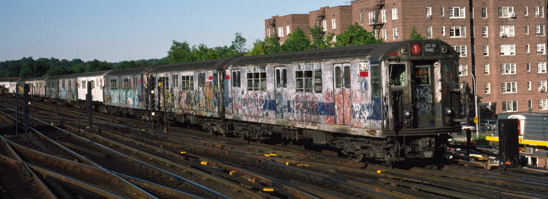 (67k, 1100x399)<br><b>Country:</b> United States<br><b>City:</b> New York<br><b>System:</b> New York City Transit<br><b>Line:</b> IRT West Side Line<br><b>Location:</b> 238th Street <br><b>Route:</b> 1<br><b>Car:</b> R-22 (St. Louis, 1957-58) 7390 <br><b>Photo by:</b> Robert Callahan<br><b>Date:</b> 9/21/1984<br><b>Viewed (this week/total):</b> 2 / 312