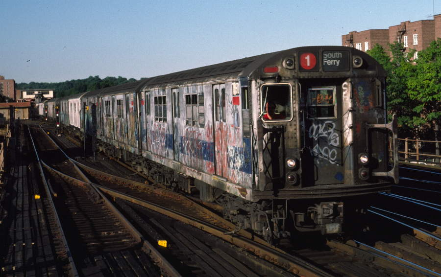 (71k, 900x566)<br><b>Country:</b> United States<br><b>City:</b> New York<br><b>System:</b> New York City Transit<br><b>Line:</b> IRT West Side Line<br><b>Location:</b> 238th Street <br><b>Route:</b> 1<br><b>Car:</b> R-22 (St. Louis, 1957-58) 7390 <br><b>Photo by:</b> Robert Callahan<br><b>Date:</b> 9/21/1984<br><b>Viewed (this week/total):</b> 3 / 352