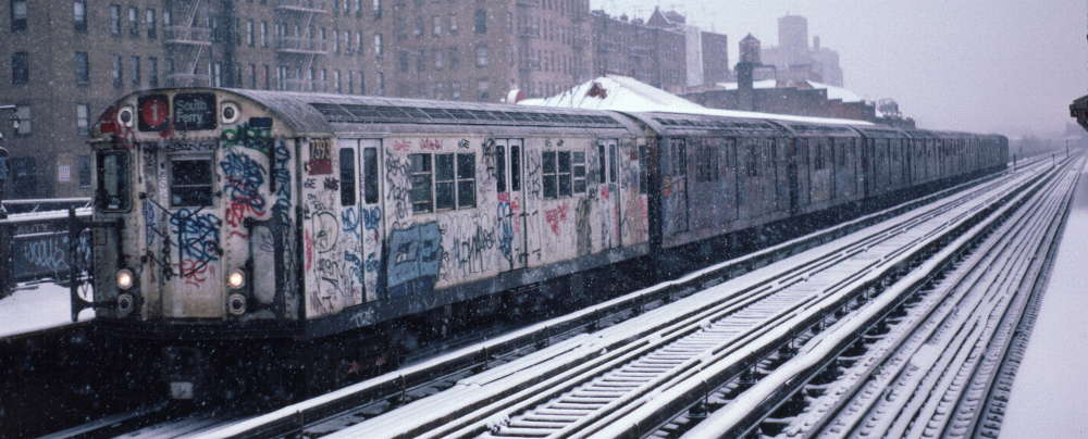 (65k, 1000x404)<br><b>Country:</b> United States<br><b>City:</b> New York<br><b>System:</b> New York City Transit<br><b>Line:</b> IRT West Side Line<br><b>Location:</b> 231st Street <br><b>Route:</b> 1<br><b>Car:</b> R-22 (St. Louis, 1957-58) 7393 <br><b>Photo by:</b> Robert Callahan<br><b>Date:</b> 2/2/1985<br><b>Viewed (this week/total):</b> 1 / 338